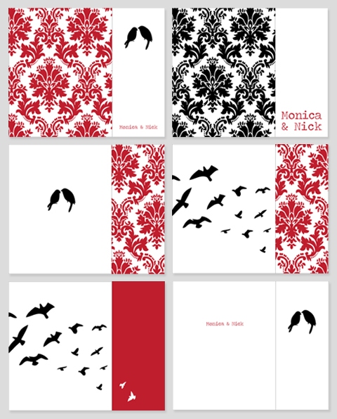 Birds and Damask Wedding Invitations, Draft 1
