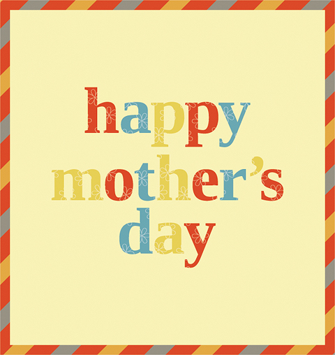 Happy Mother's Day Design with Diagonal Stripes and Outlined Flowers