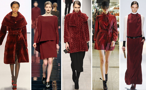Fall 2011 Runway Burgundy, Maroon, Dark Red Looks