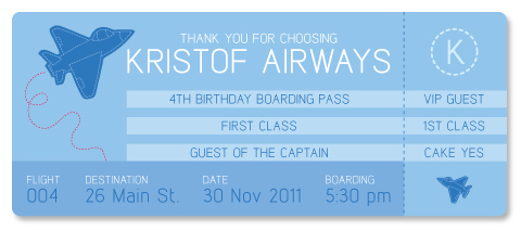 Airplane Boarding Pass 4th Birthday Party Invitation