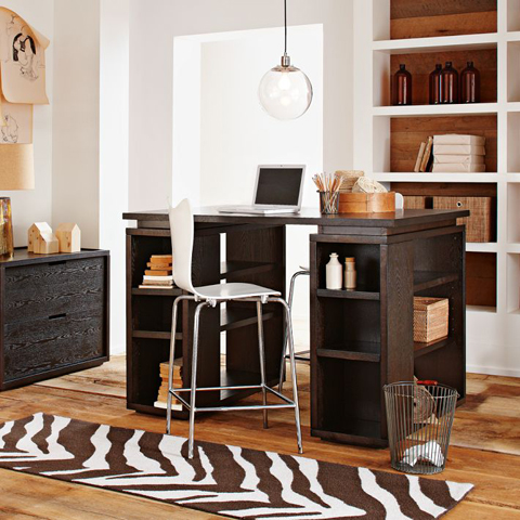 Zebra Print Runner in Clean Asian Office for West Elm