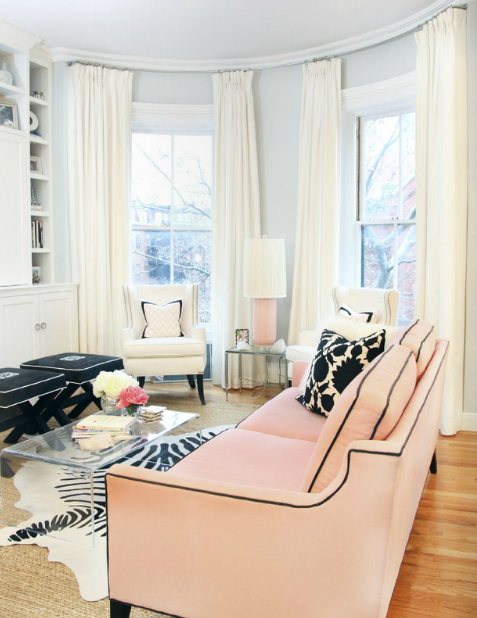 Zebra Rug in Black White and Pastel Pink Parisian Living Room for High Gloss Magazine