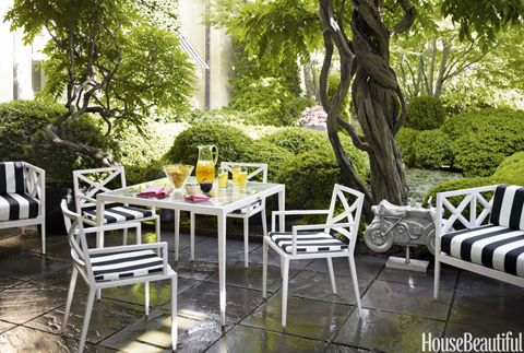 1960s Georgetown Town House Backyard Terrace with Black-and-White Striped Chairs