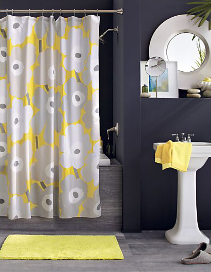Gray and yellow inspiration from crate barrel mojan sami for Bathroom yellow and gray