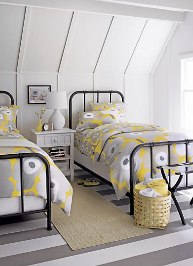 Gray and Yellow Home Inspiration: Guest Room: Crate&Barrel Scholar Twin Bed