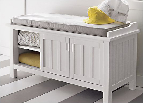 Gray and Yellow Home Inspiration: Mudroom: Crate&Barrel Brighton Storage Bench