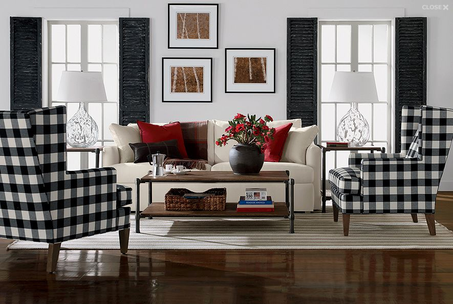 Gingham Wing Chairs from Ethan Allen's July 2012 Catalog