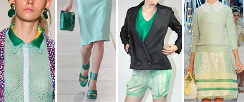 Spring 2012 Runway Fashion Trend: Mint Green with Darker Jade Green