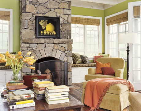 Kate White's 1860s Pennsylvania Farmhouse Apple Green Living Room