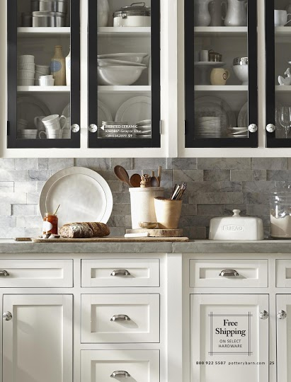 Pottery Barn February 2013 Catalog: White Kitchen Cabinets With Black Doors