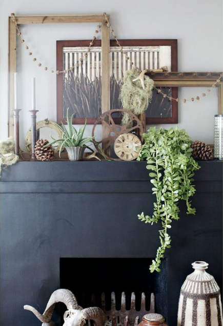 Vintage Treasures Over a Black Fireplace in Monterey, CA