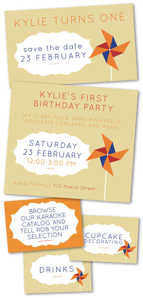Cute and Simple Pinwheel Themed Birthday Invitations