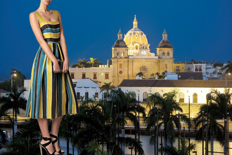 Dolce &amp; Gabbana Organza Stripe Sundress Perfect for Cartagena, Colombia