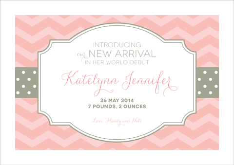Pink and Gray Chevron and Polka-Dot Birth Announcement