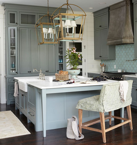 Ocean-Inspired Kitchen with Cabinets in Sherwin-Williams' Retreat